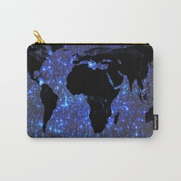 World Map : Blue Galaxy Stars Carry-All Pouch