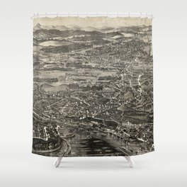 Vintage Pictorial Map of Kingston NY (1875) Shower Curtain