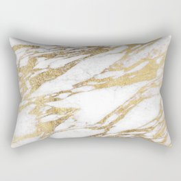 Chic Elegant White and Gold Marble Pattern Rectangular Pillow