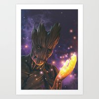 groot Art Prints featuring Groot by Aferova
