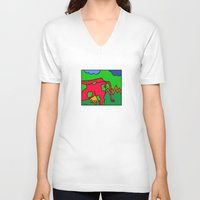 cows V-neck T-shirts featuring COWS 3 by Stefan Stettner