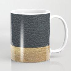 Color Blocked Gold & Leather Coffee Mug
