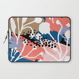 Coral pink white hand painted floral brushstrokes Laptop Sleeve