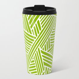 Abstract apple green & white Lines and Triangles Pattern-Mix and Match with Simplicity of Life Travel Mug