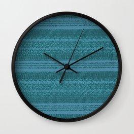 Big Stich Aqua Teal - Knitting Fabric Art Wall Clock