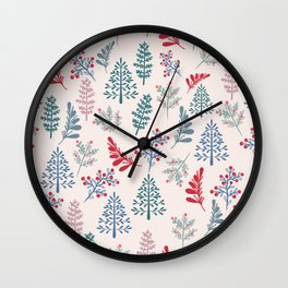 Christmas rustic vector pattern with Xmas trees in Scandinavian style Wall Clock