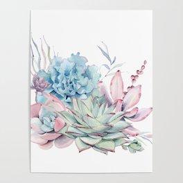 Pretty Pastel Succulents Poster