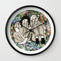 oitnb Wall Clocks featuring OITNB Floral by MODERN UNDERGROUND