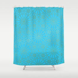 Moroccan Nights - Gold Teal Mandala Pattern - Mix & Match with Simplicity of Life Shower Curtain