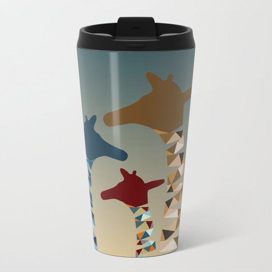 Abstract Colored Giraffe Family Metal Travel Mug