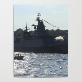 "The military ship ""Smart"" / ""Soobrazitelniy"" 531. The Neva River. Poster"