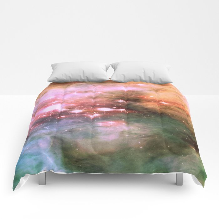 Colorful Pink Sparkle Carina Nebula Abstract Comforters