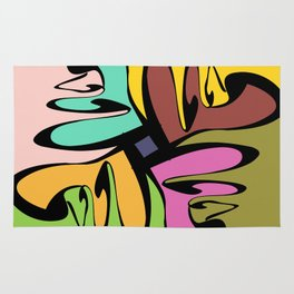 Four Faces Abstract Rug