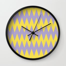 Zigzag Line Pattern Color of the Year 2021 Illuminating 13-0647 Yellow and Lavender 15-3817 Purple Wall Clock
