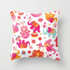 Colorful oriental elephant and hamsa pattern Throw Pillow