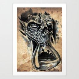 Tattoo skull Hour glass Art Print