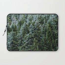 Snow Bank Woodlands // Photograph of the Dense Blue Green Evergreen Pine Tree Forest Laptop Sleeve