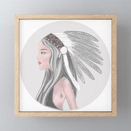 Native American girl Framed Mini Art Print