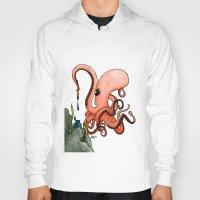 writer Hoodies featuring Octopus Writer by Zekis Art
