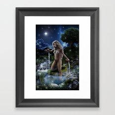 XVII. The Star Tarot Card Illustration (Color) Framed Art Print