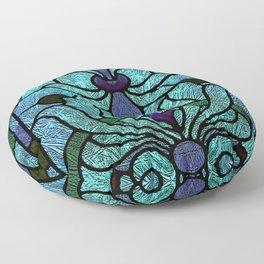 Aqua Green and Blue Art Nouveau Stained Glass Design Floor Pillow