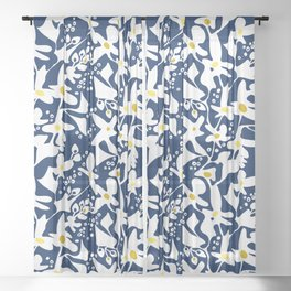 Blue jungle: Organic shapes and flowers Sheer Curtain