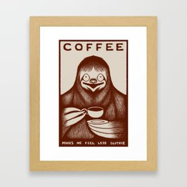 Coffee Sloth Framed Art Print