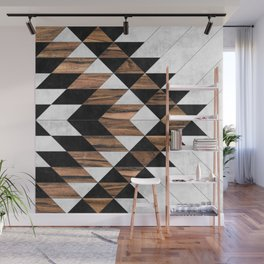 Urban Tribal Pattern No.9 - Aztec - Concrete and Wood Wall Mural