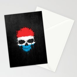 Flag of Luxembourg on a Chaotic Splatter Skull Stationery Cards