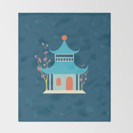 Chinoiserie Hut Throw Blanket
