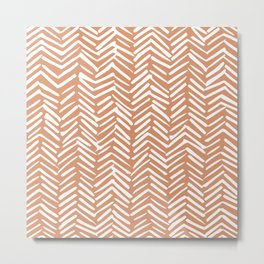 Mudcloth Striped Pattern, Burnt Orange Metal Print