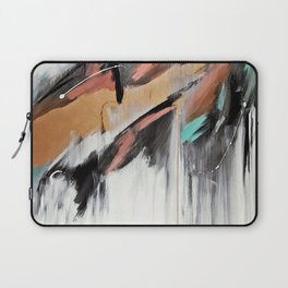 Head in the Clouds: colorful abstract piece in pink, teal, gold, black and white Laptop Sleeve