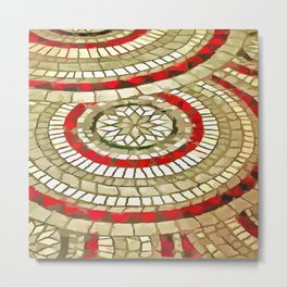 Mosaic Circular Pattern In Red and Gold Metal Print