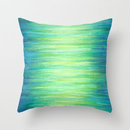 Blue Green Ombre Art Painting Print Throw Pillow