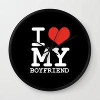 boyfriend Wall Clocks featuring I love my boyfriend by WAMTEES