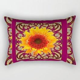 BURGUNDY Colored Golden Sunflowers  Grey Pattern Rectangular Pillow