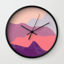 Modern geometric abstract purple snow winter mountains Wall Clock