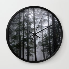 Mist Fog Ponderosa Pine Trees Wall Clock
