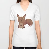 furry V-neck T-shirts featuring Furry Squirrel by Yay Paul
