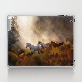 Horses in a Golden Meadow by Georgia M Baker Laptop & iPad Skin