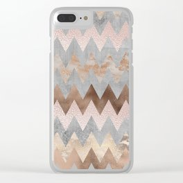 Rose Gold Chevron Glitter Glamour Marble Gem Clear iPhone Case