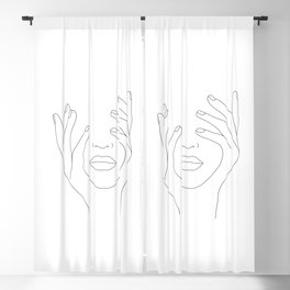 Minimal Line Art Woman with Hands on Face Blackout Curtain