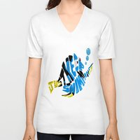 "finding nemo V-neck T-shirts featuring ""just keep swimming"" (Finding Nemo- Dory) by Art of Fernie"