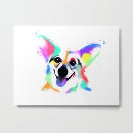 Rainbow Corgi Metal Print