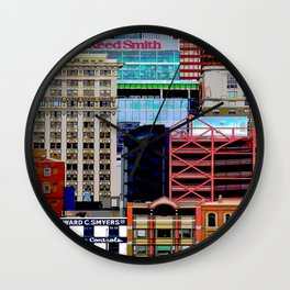 City Collage Architecture Print Wall Clock
