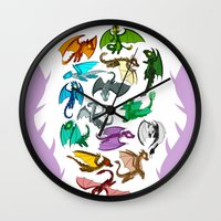 dragons Wall Clocks featuring Dragons by prpldragon