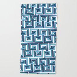 Greek Key - Turquoise Beach Towel