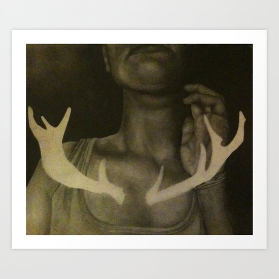 Self Portrait with Antlers Art Print
