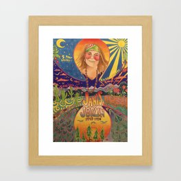 Janis 60s colorful psychedelic poster- prismacolor markers Framed Art Print