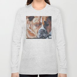 Beautiful American Staffordshire Terrier portrait by L.A.Shepard fine art painting Long Sleeve T-shirt